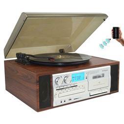 Boytone BT-38SM Bluetooth Turntable Record Player AM/FM CD /