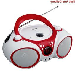 Jensen CD Boombox CD-490 White/Red Portable Stereo + CD-R/RW