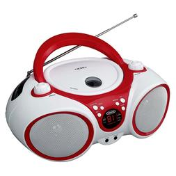 Jensen CD Boombox CD-490 White/Red Portable Stereo Boombox +