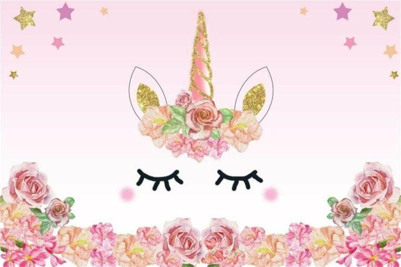 AOFOTO 5x3ft Cartoon Pink Unicorn Background Birthday Party
