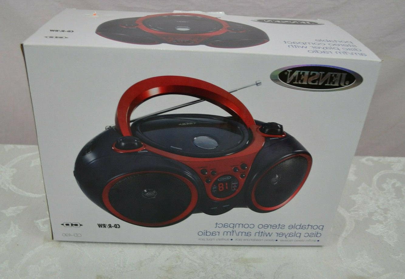 cd490 black red portable stereo cd player