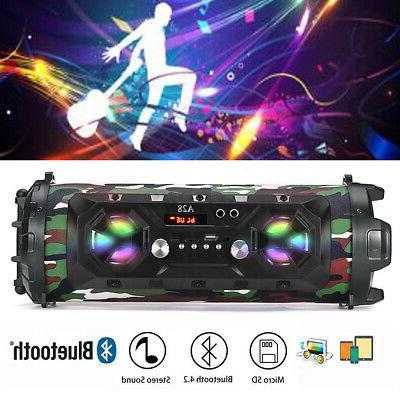 led bluetooth speakers bass wireless subwoofer boombox
