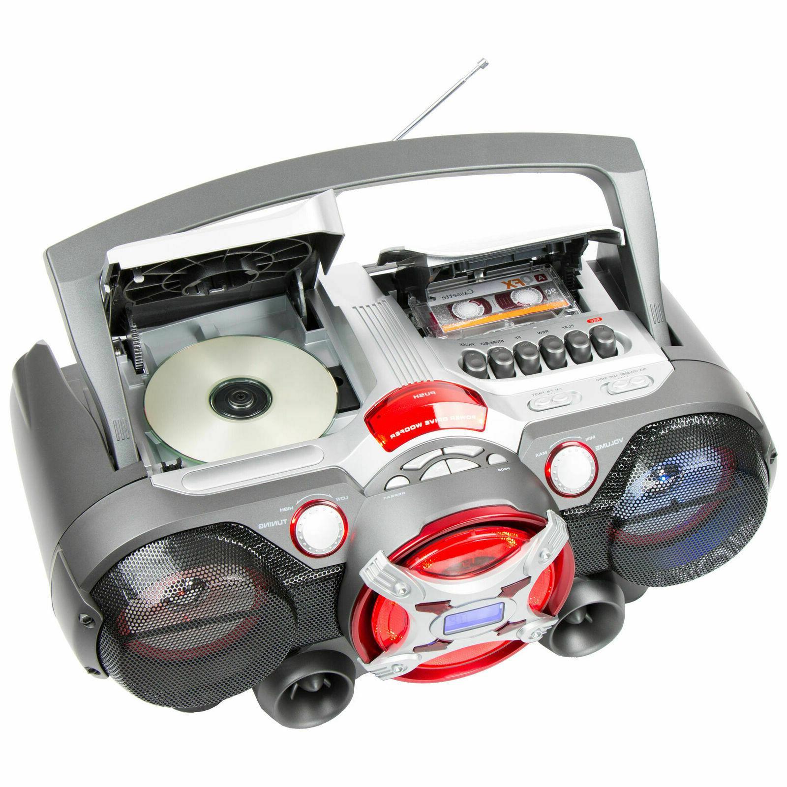 QFX Portable Bluetooth CD Cassette Player Jumbo Speaker