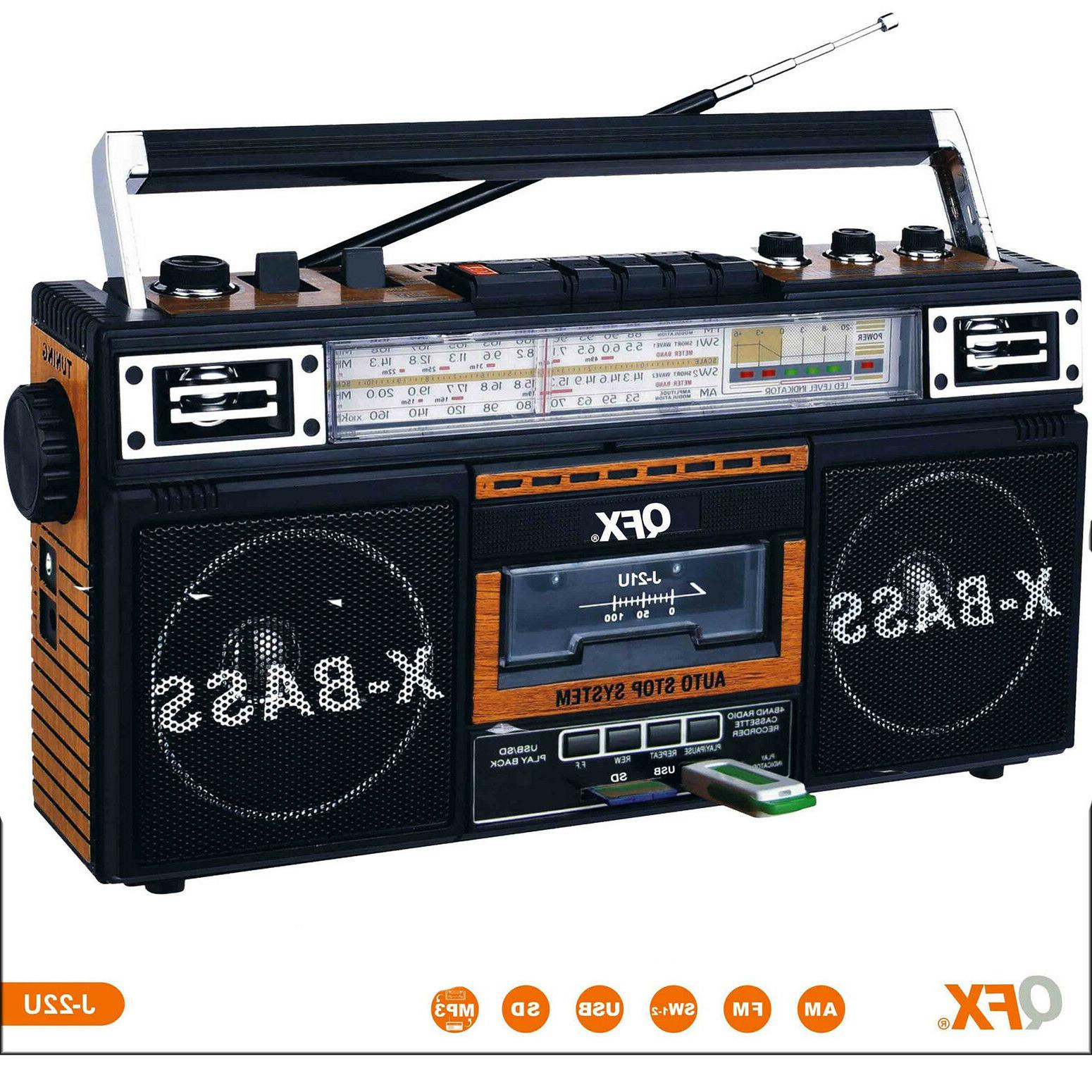Portable Retro Boombox Radio Recorder Player USB/SD/AUX Cass