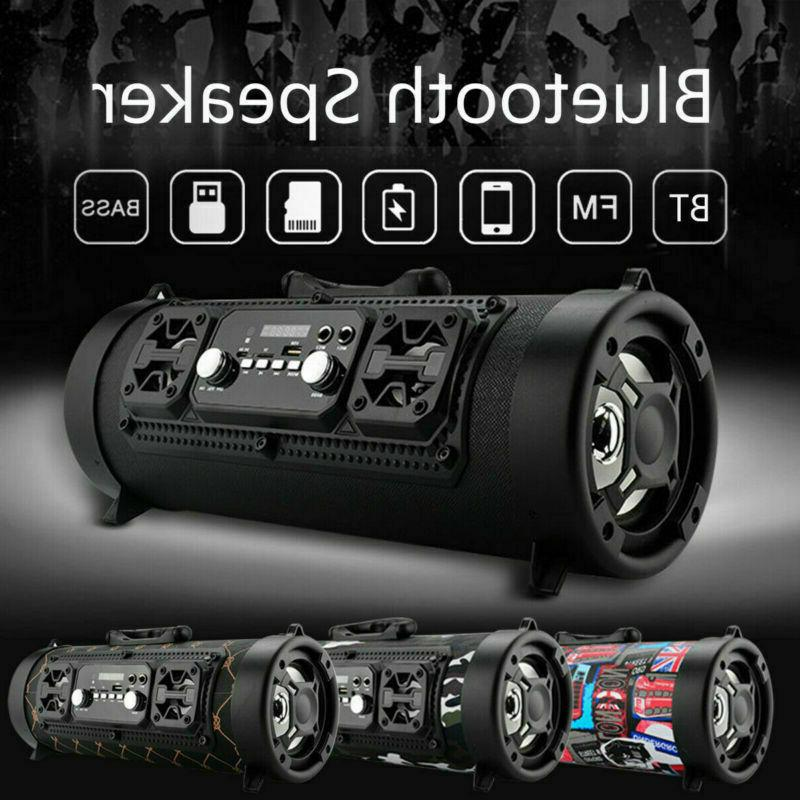 Portable Wireless Boombox Stereo Cylinder SD FM Radio AUX