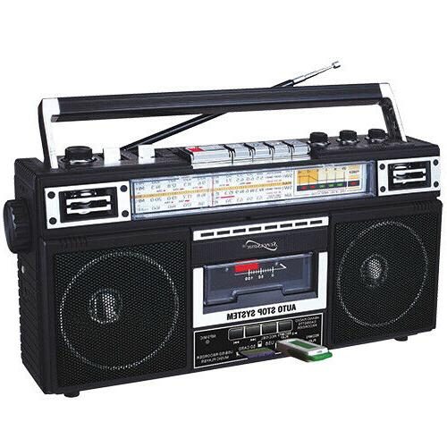 Supersonic SC-3201BT-BK Retro 4-band Radio And Player With Bluetooth