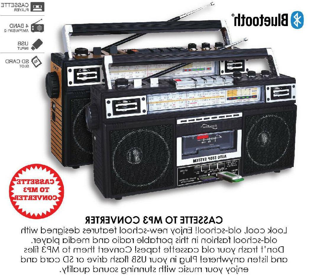 Supersonic SC-3201BT-BK Radio With Bluetooth