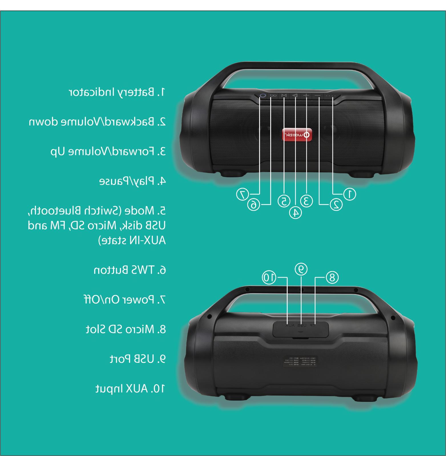 True Wireless Portable Boombox FM Radio AUX PC