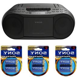 Sony Stereo CD/Cassette Boombox Home Audio Radio  with batte